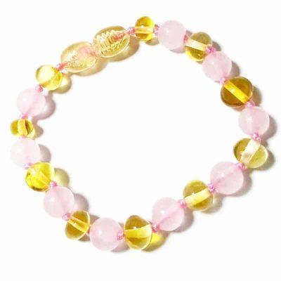 Pulseira de âmbar bebé barroco mel e quartzo rosa polido - 14 cm
