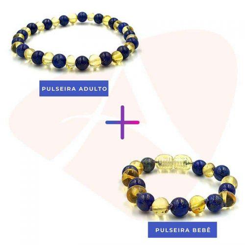 Kit com 2 pulseiras de âmbar bebé e mamãe barroco limão e lápis lazuli polido - 14cm e 18cm