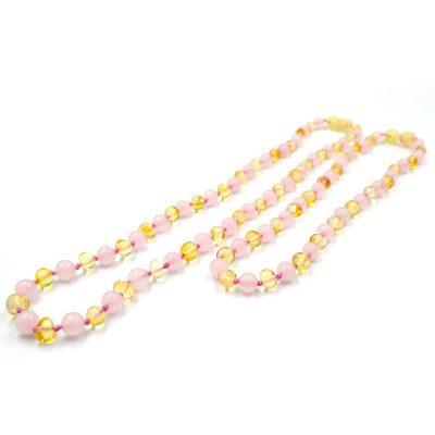 Kit com 2 colares de âmbar bebé e mamãe barroco mel e quartzo rosa polido - 33 cm e 45 cm